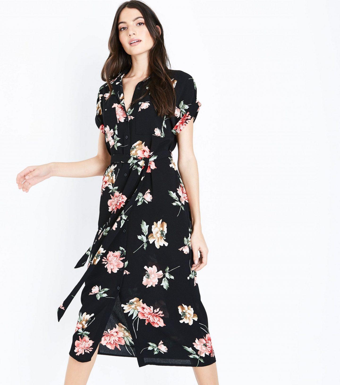 New Look black-floral-print-midi-shirt-dress
