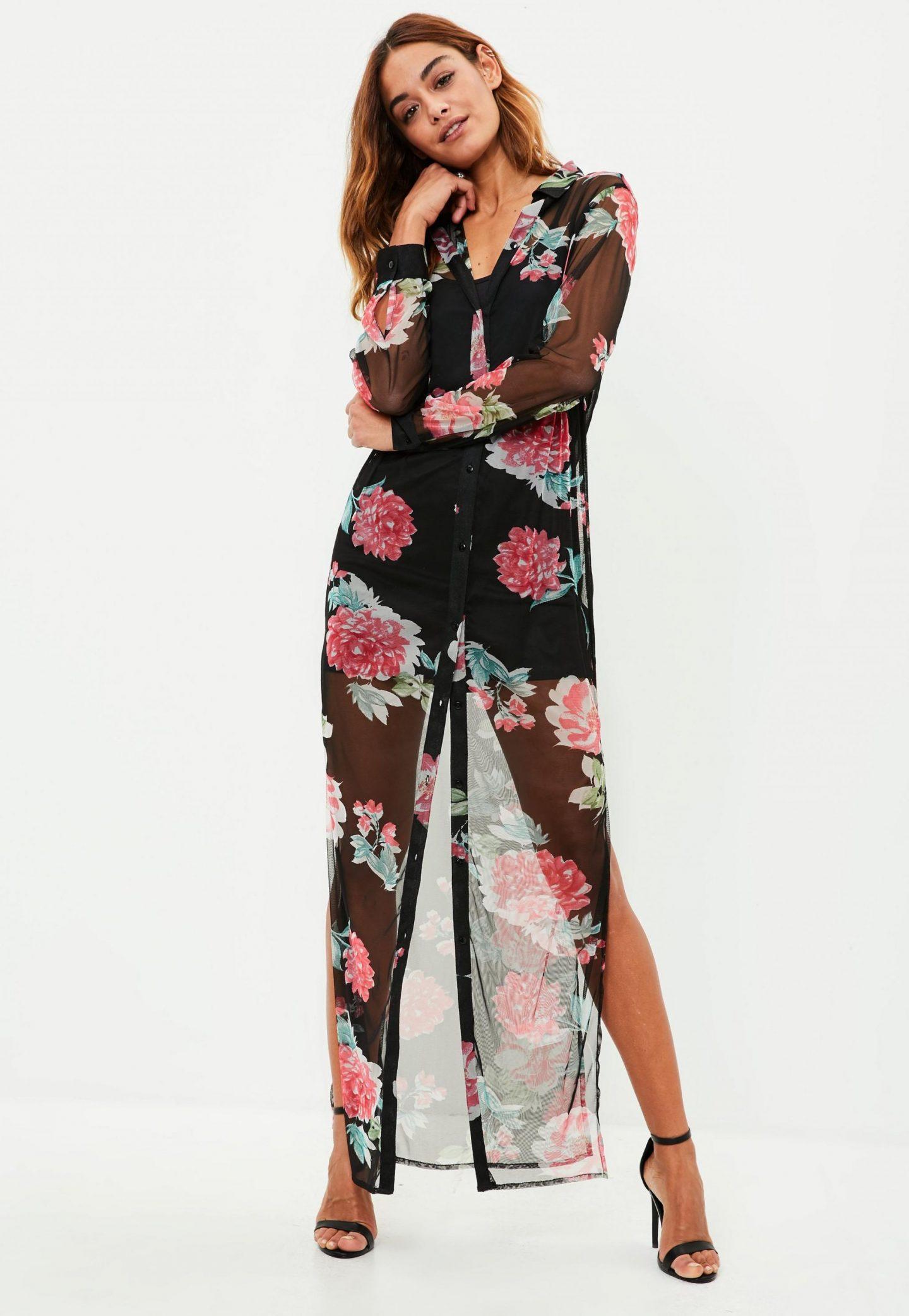 black-floral-print-maxi-shirt-dress
